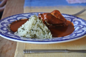 our chicken in mole sauce